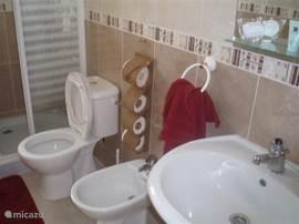 2de Badkamer met wastafel, douche en 2de toilet. Tevens staat hier ook de wasmachine.