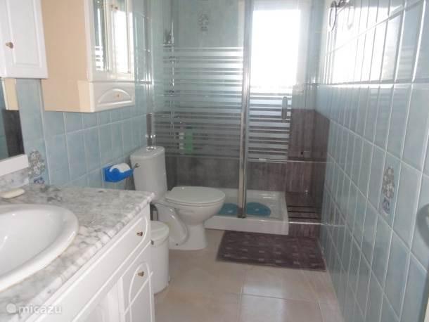 Badkamer met toilet en grote inloopdouche, over de gehele breedte van de badkamer.