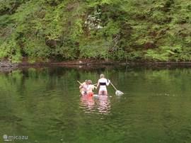 Vissen in de rivier die door het dorpje loopt