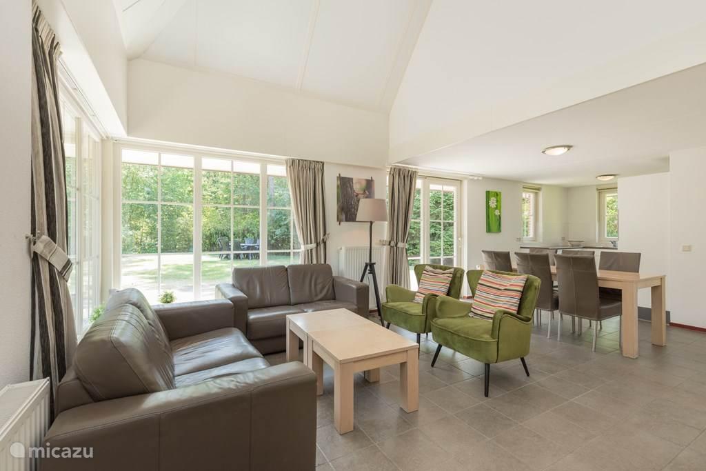 Modern ingerichte ruime woonkamer met mooie leren banken en stoelen