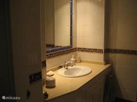 Badkamer behorend bij de ouderslaapkamer,voerzien van douche en toilet.