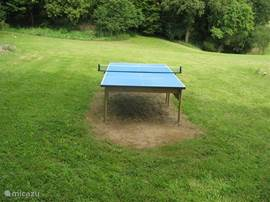 Table tennis table with balls and bats provided for you.
