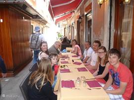 Good food in one of the numerous streets of Venice