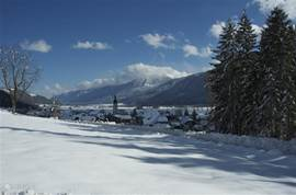 View of Villa Vicana in winter. The track has quickly accessible by the ski bus which stops at the bottom of the road.