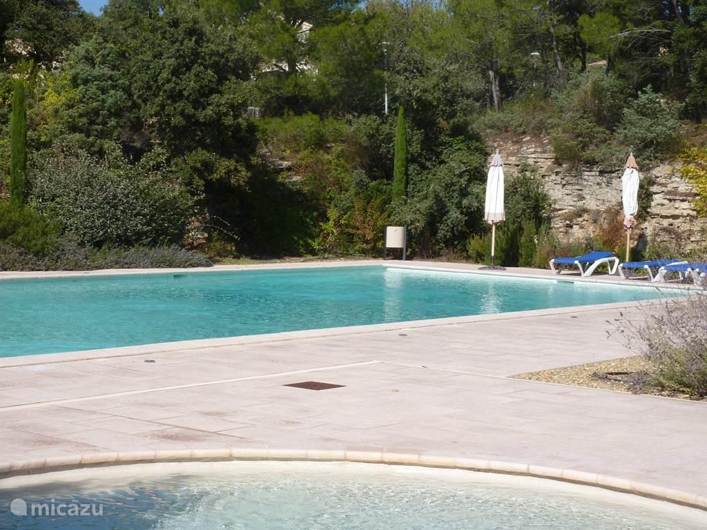 gemeenschappelijk zwembad (20x9 meter) met kinderbadje op de voorgrond