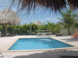 Heerlijk tuin met palapa-parasols, voorzien van heerlijke ligbedden, douchje, picknicktafel,wireless internet,etc,.....