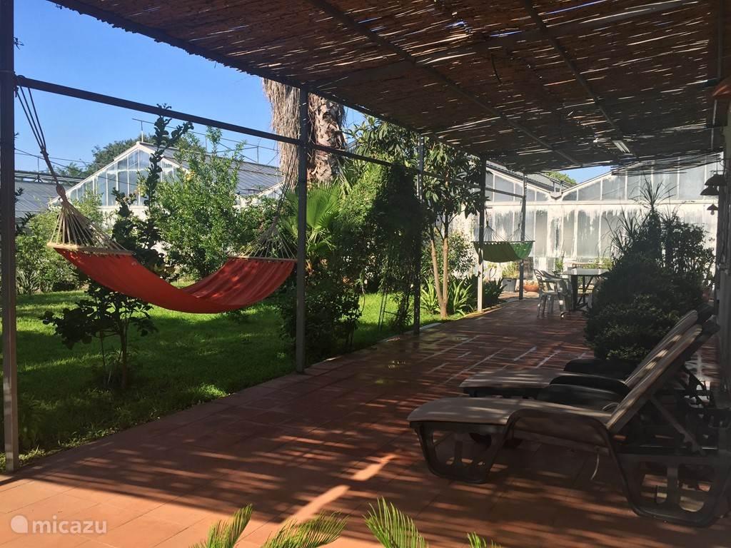 Appartement 2: Hangmatten en ligstoelen op het terras