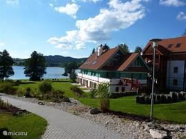 Hier ziet u de geweldige ligging van het park aan het mooie en veelzijdige LIPNOMEER! Zwemmen, bootje varen, zeilen, schaatsen, sleetje rijden enz. Ook genieten van dit uitzicht? BOEK NU!