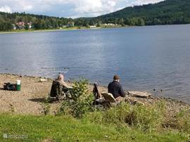 In the beautiful lake Lipno, you can swim but it is also an ideal fishing spot!