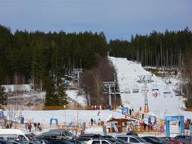 The run that leads to the ski lift in Lipno