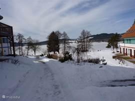 In de winter is het Lipnomeer bevroren en een walhalla voor de schaatsliefhebber. Martina Sábliková traint er regelmatig! Voor skiërs is het skigebied op 500m afstand!