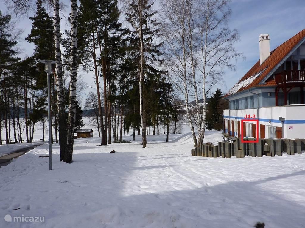 Vanuit de woonkamer en uw terras hebt u een mooi uitzicht op het geheel bevroren Lipnomeer.