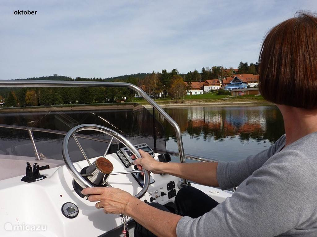 With your rented boat on the lake! Very much fun to do and as a bonus a special view of the park. Even in October a great experience!