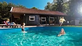 Gebruik maken van het zwembad bij mooi weer
