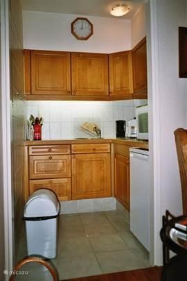 Keuken met combimagnetron (magnetron + oven), koelkast, elektrische MIELE kookplaat.  Volledig ingericht.