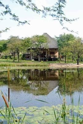 Zicht op vakantiehuis Kruger Estate Wild Olive vanaf de vijver(s)