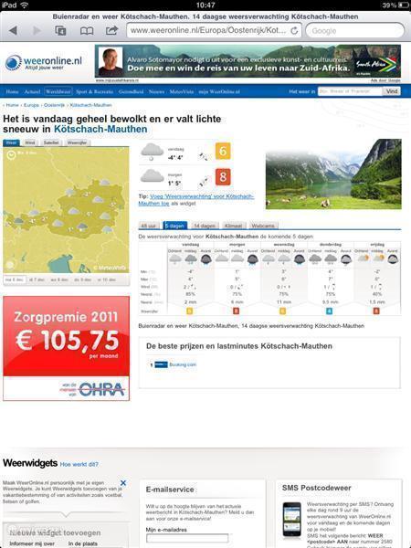 Het klimaat en weer in Kötschach-Mauthen te Karinthië