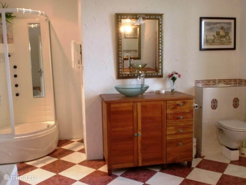De badkamer met twee wastafels, massagedouche, bad en toilet