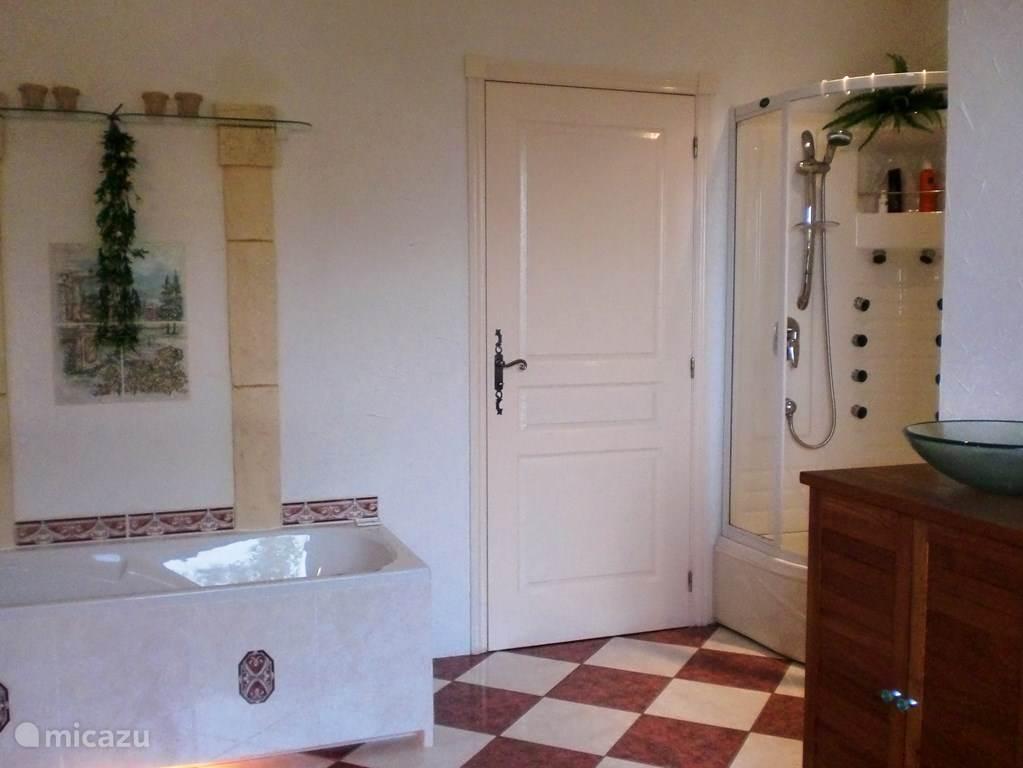 De badkamer met twee wastafels, massagedouche, bad en toilet.