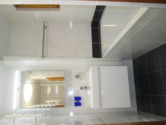 Badkamer met regendouche, handdoekwarmers