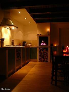 kitchen with indoor braai