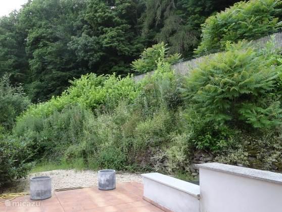 blik op de tuin bij de ingang van de villa