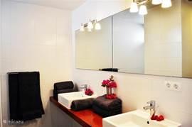Badkamer van de masterbedroom met inloopdouche en aparte wc.