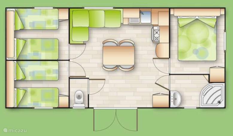 Tegen een toeslag van 50 euro per week kunt u ook kiezen voor een stacaravan met 3 slaapkamers, hierboven de plattegrond.
