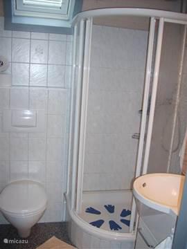 De douche met tweede toilet en wastafel met onderkast en tiolet meubel.