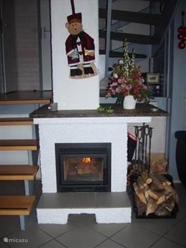 De nieuwe hout kachel in de huiskamer voor een knusse avond en heerlijke warmte in het hele huis.