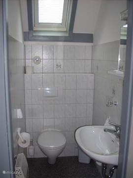 Het tweede toilet met was tafel.