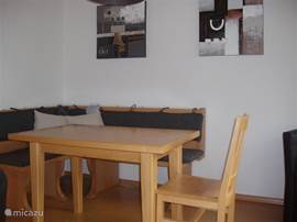 Spacious dining area for games and cozy dinners.