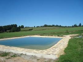 We have created a natural swimming pond with clear water and a filter plant. It is 12x8 m. And has a shallow entry.