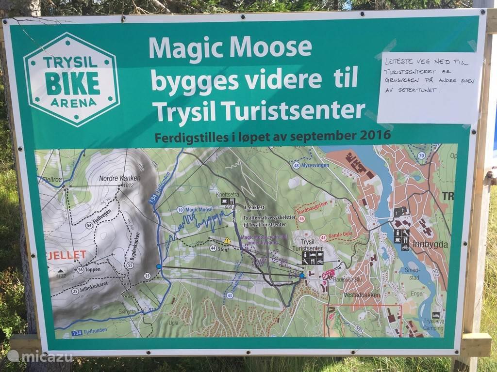 Overzicht afdaling Magic Moose, tevens mogelijk om route 134 Fjellrunden om berg te lopen of fietsen.