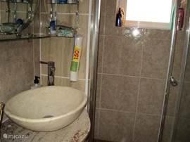 Badkamer met toilet, douche met schuifdeur en natuurstenen waskom/wastafel.