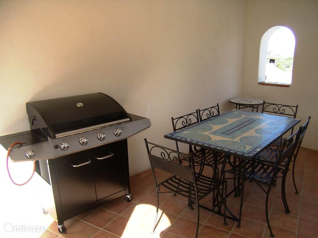 op het dak terras overdekte patio met BBQ en koelkast!