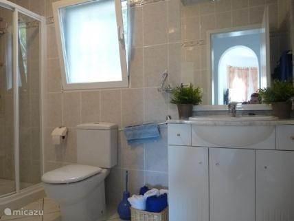Badkamer op de bovenverdieping, voorzien van douche, toilet en wasmachine.