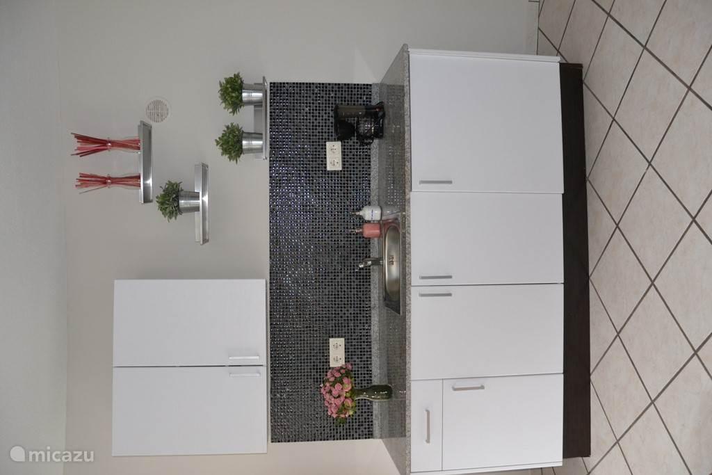 Het keukenblok op de benedenverdieping, met wastafel en koelkast