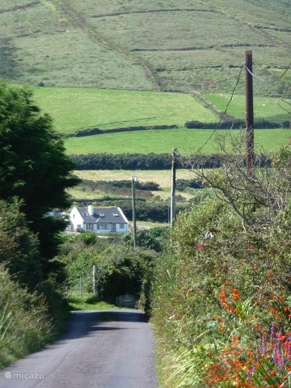Het eerste zicht op ons huis; te bereiken via het gehuchtje Cilliruith die rechts ligt achter de fuchsias