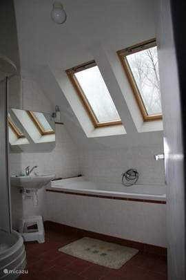 One of the two bathrooms with underfloor heating, shower and bath.