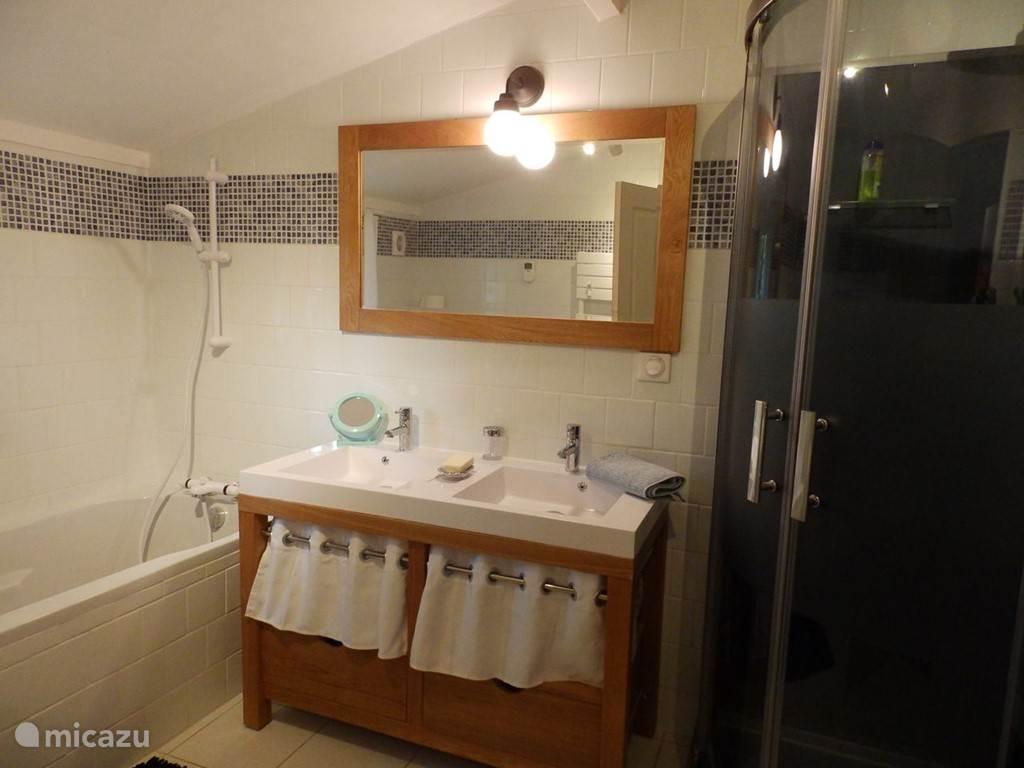 De nieuwe badkamer met ligbad, dubbele wastafel, douchecabine en toilet