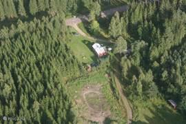 Foto van onze woning vanuit de lucht.