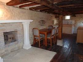 Living room with fireplace outbuilding