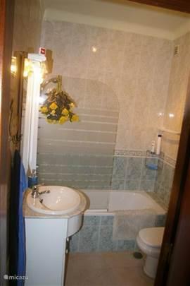 Badkamer van de ouderslaapkamer met ligbad met douche mogelijkheid, toilet en wastafel.
