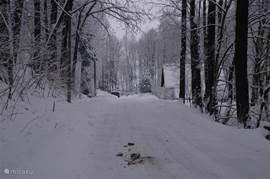 Javornik in de winter ,de woning is ondanks de sneeuw altijd goed te bereiken zonder sneeuwkettingen