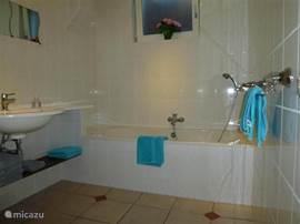 Badkamer met ligbad en aparte douche cabine