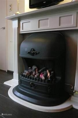 gezellige openhaard op gas in de woonkamer