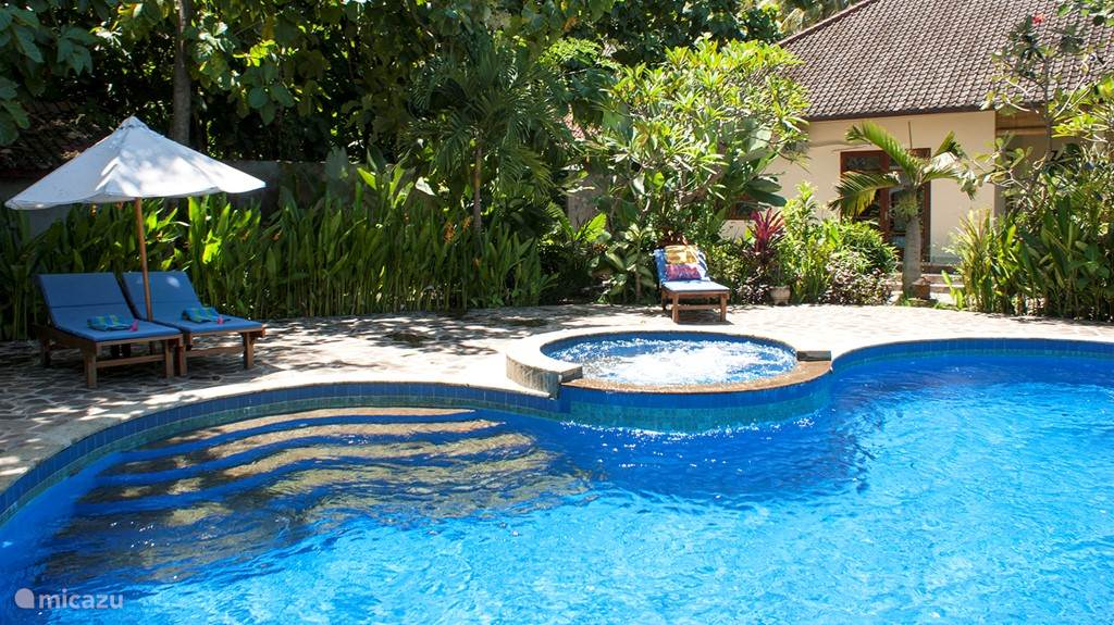 A lovely pool of 70 m2 in the middle of the tropical garden. Jacuzzi and jet stream!