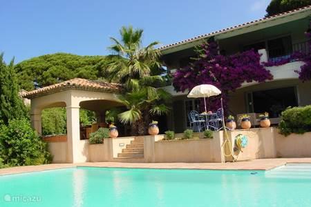 Achterkant huis met zwembad , tuin en terrassen