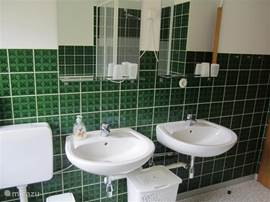 The bathroom on the first floor.